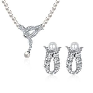 silver-tone freshwater pearls pendant necklace set